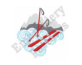 6c7e697b99da Snow Skis - Machine Embroidery Design