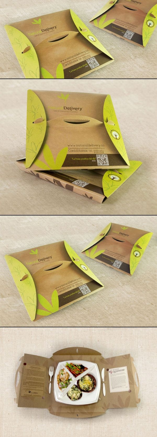Natural Delivery.An integral packaging design is developed for Natural Delivery, a delivery service of healthy food. The unique structure of the folding box integrates an optimal and safe transport. To limit waste, time and increase ease of use and personal experience, the structure can also be doubled as a plate and a placemat. Cool idea #packaging PD