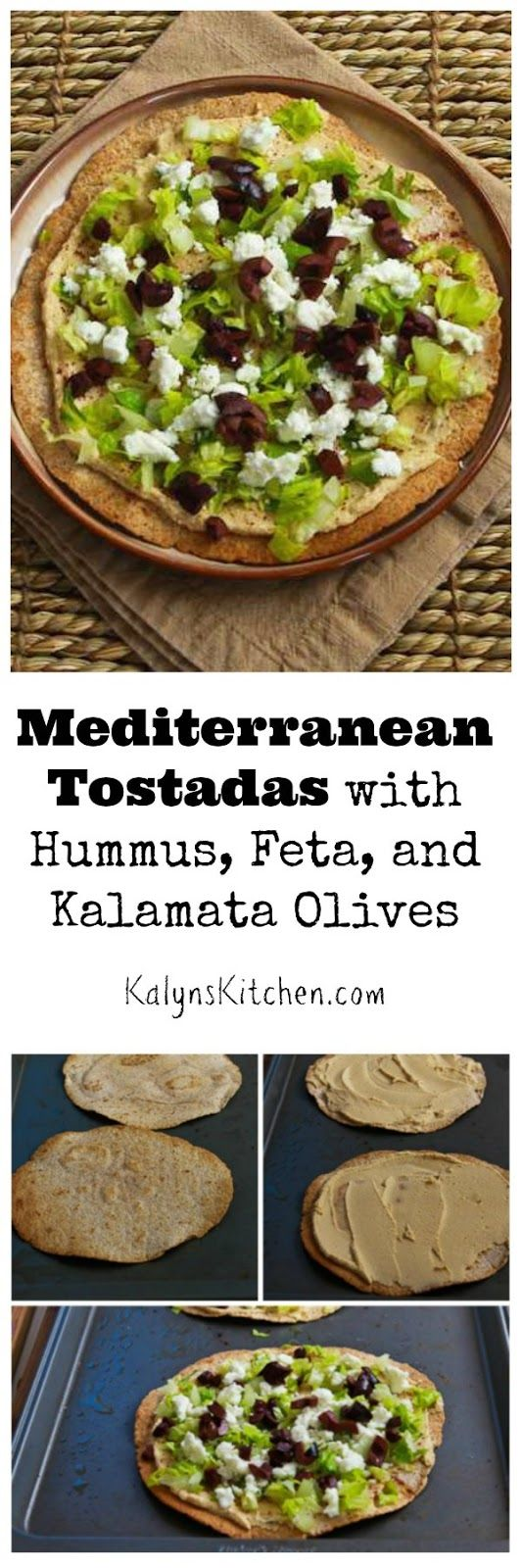 These Mediterranean Tostadas with Hummus, Feta, and Kalamata Olives are an easy and delicious lunch!  (Meatless Monday)  [found on KalynsKitchen.com]