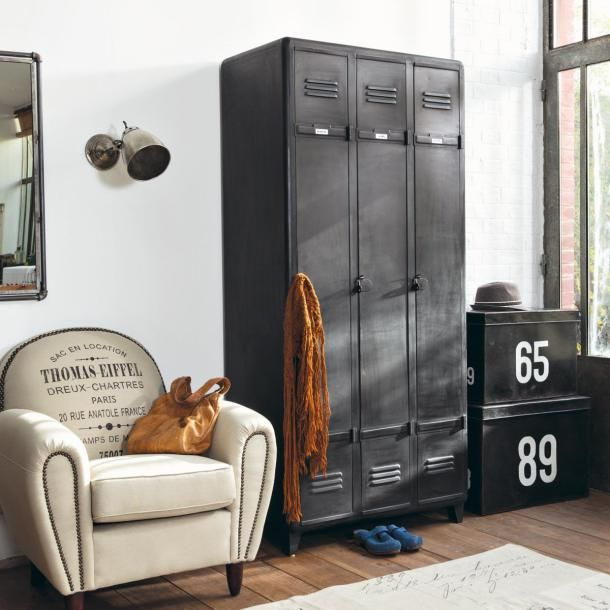 industrial looking furniture. create a vintage industrial look with the indus 3 door metal almirah looking furniture b