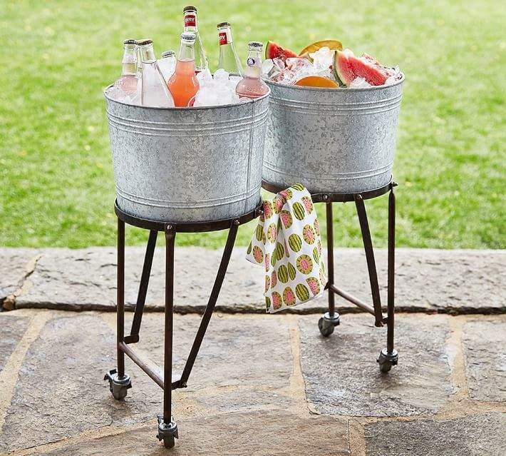 Galvanized Metal Double Drink Cooler With Rolling Stand Beverage Tub Beverage Cooler Beverage Tub Stand