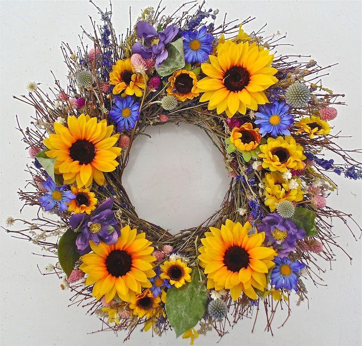Wreaths For Door - Sunflower Parade Wreath , $59.99 (http://www.wreathsfordoor.com/sunflower-parade-wreath/)