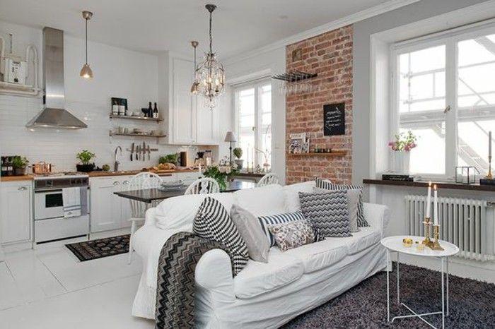 meubler un studio 20m2, petite cuisine blanche mur en carrelage blanc, tapis gris,murs blancs