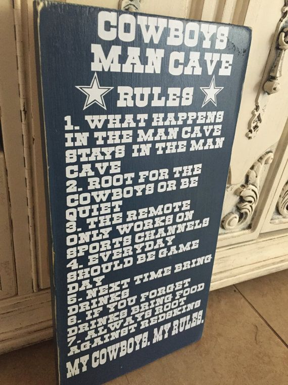 Dallas cowboys man cave rules cowboy sign by 2ShabbyGirlsShop