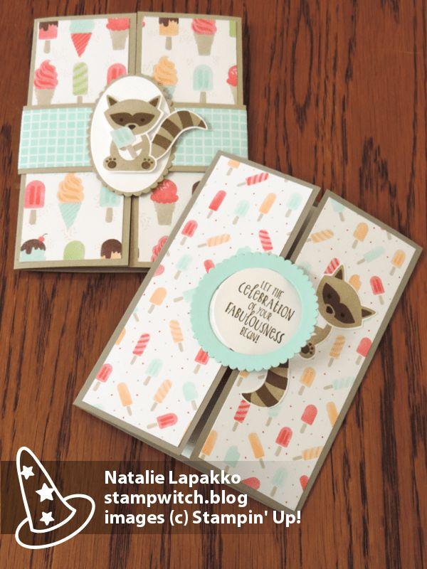Gatefold cards with Foxy Friends stamps and Tasty Treats DSP from Stampin' Up! Card design by Natalie Lapakko.