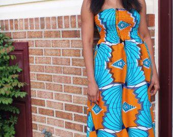 agambii vlinder jurk chiffon en Afrikaanse afdrukken | Etsy