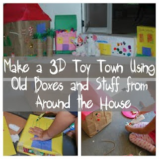 Make a town come to life using boxes and stuff from around your house!  Your #toddlers and #preschoolers can help decorate and use their imaginations to create a whole new world in your living room!