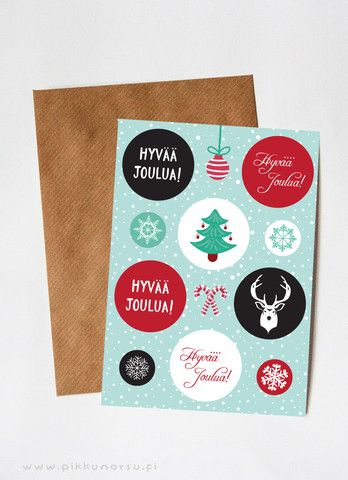 Jouluinen tarra-arkki, jossa kuusi isoa ja neljä pientä pyöreää tarraa. Kiinnitä vaikka lahjapakettiin tai joulukortin kirjekuoreen.