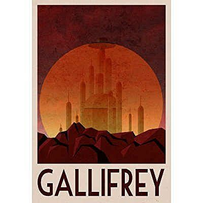 Gallifrey Retro Travel Poster - 13x19 custom fit with RichAndFramous Black 13 inch Poster Hangers by Generic