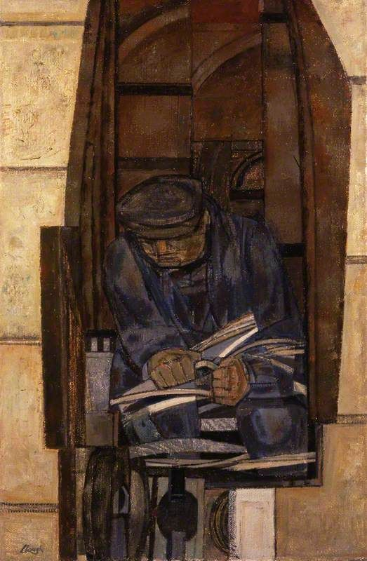 Telephone Engineer by Prunella Clough   Aberdeen Art Gallery & Museums Date painted: 1950 Oil on canvas, 79.2 x 51 cm Collection: Aberdeen Art Gallery & Museums