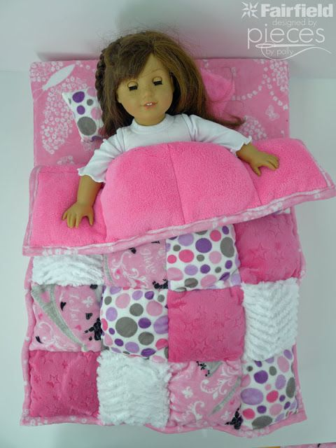 Pieces by Polly: Super Easy Cuddle Doll Puff Quilt sewing tutorial - perfect size for 18 inch size dolls or American Girl brand dolls - a fun DIY sewing project for you and your girl