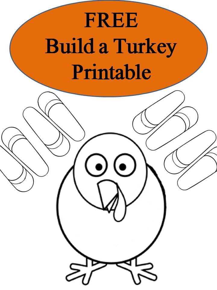 FREE Build A Turkey Thanksgiving Printable Coloring Pages Book