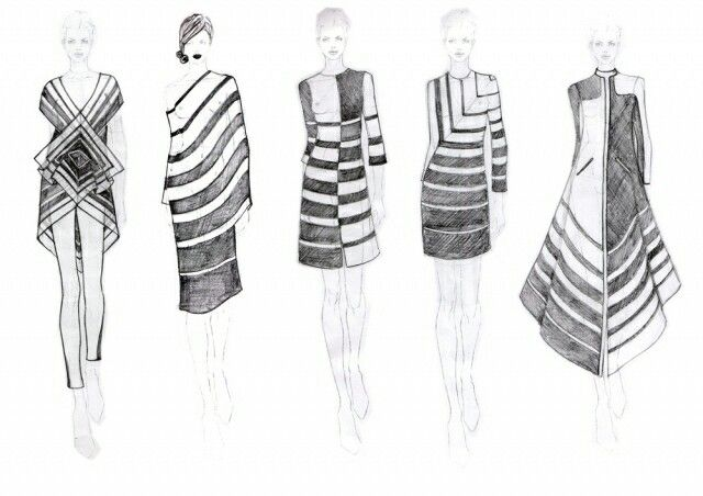 fashion sketchbook striped dresses fashion design