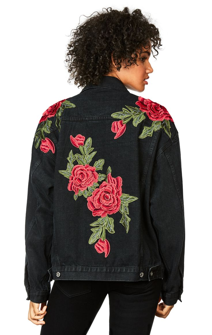 Oversized Denim Jacket With Rose Applique Vetements