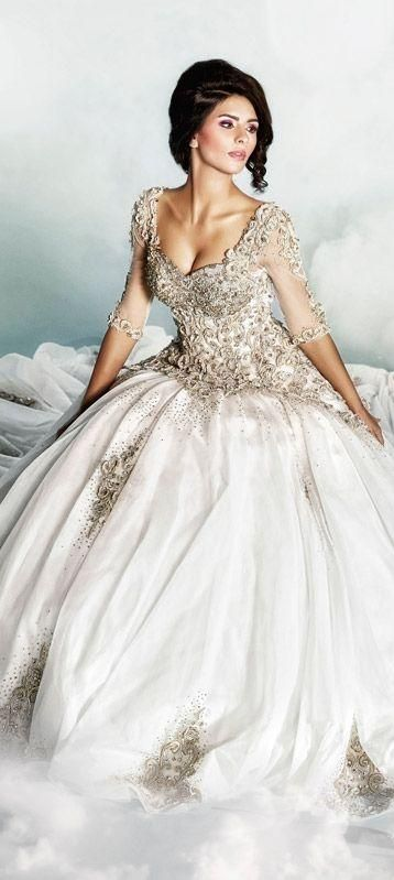 White and Gold Wedding. Sweetheart Corset Ballgown Dress. Dar Sara Wedding Dress 2014