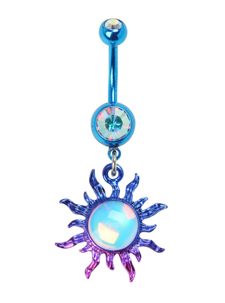 14G Steel Purple Blue Ombre Sun Navel Barbell | Hot Topic
