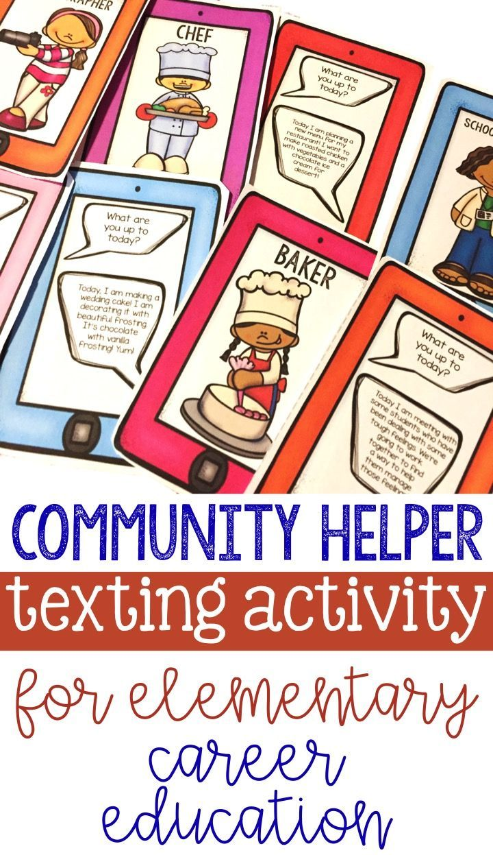 community helper text message matching activity for elementary school counseling career education. perfect for classroom guidance lesson and career development!