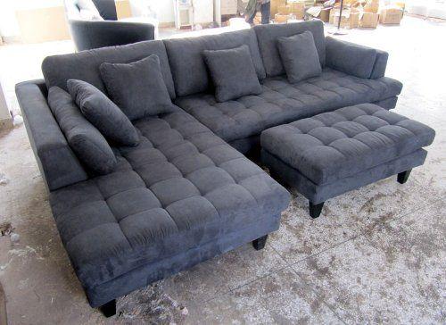 3pc Euro Design Dark Gray Microfiber Sectional Sofa Set