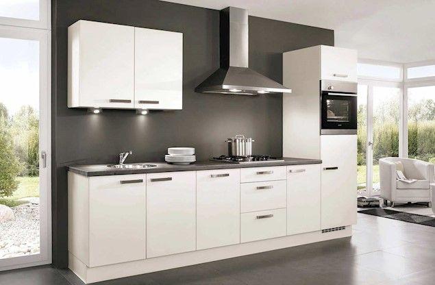 Rechte keuken wit, grijs graniet