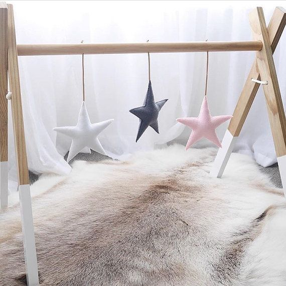 Baby gym toys / set of three stars / pink white and grey