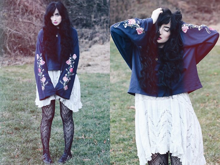 Adrianna Nicole - H&M Floral Sweater, Free People Slip, Dr. Martens Mary Jane - Thunder