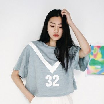 """[Sailor Top: Sky Blue] A #croptop, #croppedtee featuring a """"36"""" graphic. Round neckline. Short sleeves. Matches cute with high-waist pants or skirts. #marinelook #kpopfashion #koreanfashion #koreanclothes #koreanclothing #fashion2ne"""