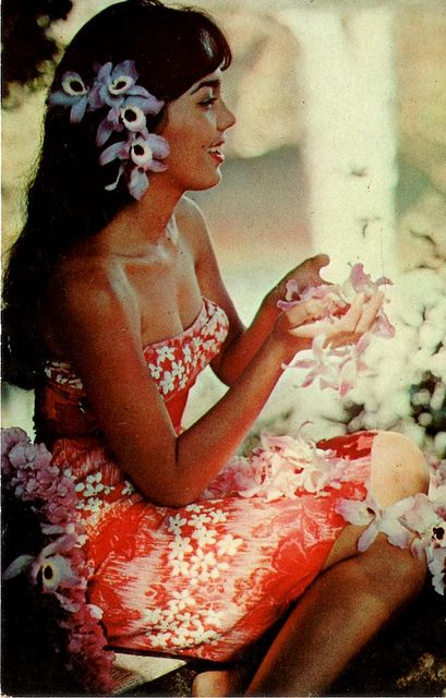 vintage postcard hawaii's postergirl by issoucoffee, via Flickr