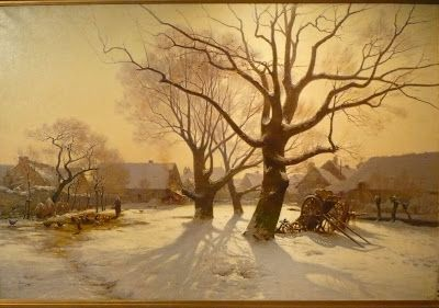 Henri Louis Saintin 1846-1899 Neige en Novembre en Bretagne 1884 hst 162x247