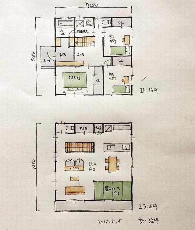 32坪の間取り 2階ldk 畳コーナーです 浴室まわりと寝室を1階に集めると2階が広々とれます 間取り 間取り図 間取り力 間取り集 間取り萌え 間取りフェチ 間取りマニア 間取り図好き 間取り図大好き 間取り図が好き 間取り考え中 マイホーム