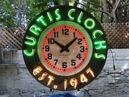 Huge 4 foot Curtis Clocks neon clock