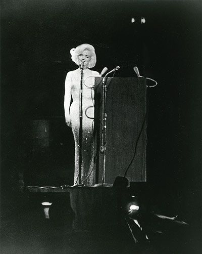 Marilyn Monroe Singing happy birthday to JFK in Madison Square GardenPhotograph: Courtesy of the author