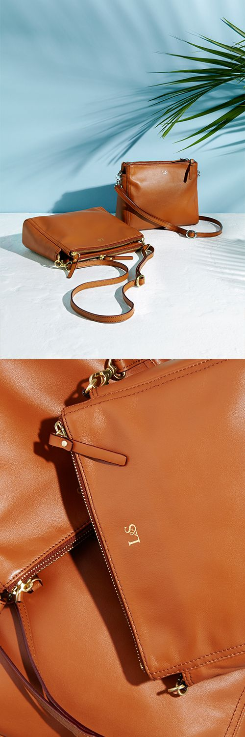 The Pearl leather crossbody bag. Now available in the colour Sienna! Designed by Lo & Sons - loandsons.com #loandsons