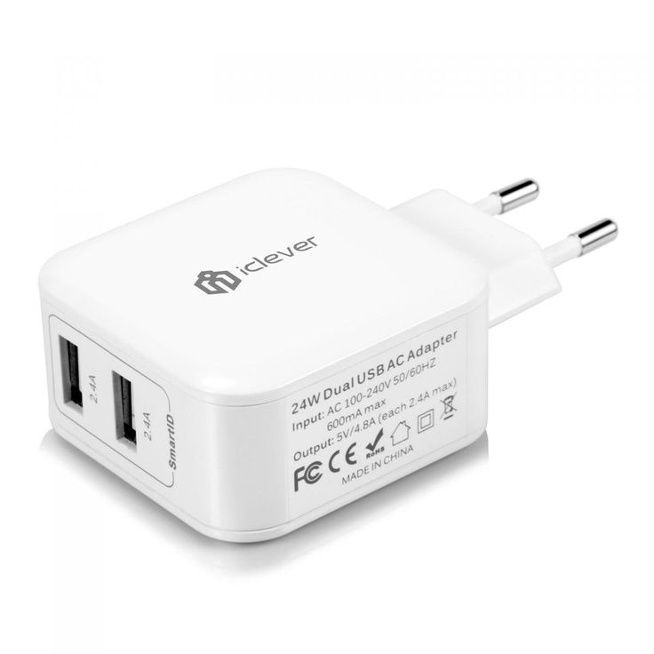 iClever® BoostCube Cargador USB, Travel Wall Charger con SmartID Tecnología (24W/4.8A 2 Puertos) Cargador Portátil, Cargador de Pared: Amazon.es: Electrónica