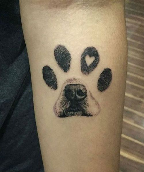 Superb Paw Print Dog Tattoo Designs on Arm to Fuel Your Ink Addiction