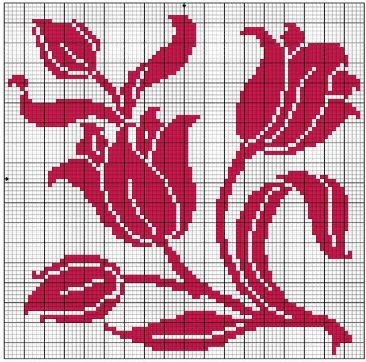 filet crochet patterns tulips | Square 54