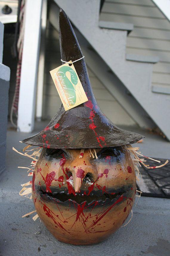 Scarecrow Gourd Jack o lantern by EricsGourdArt on Etsy