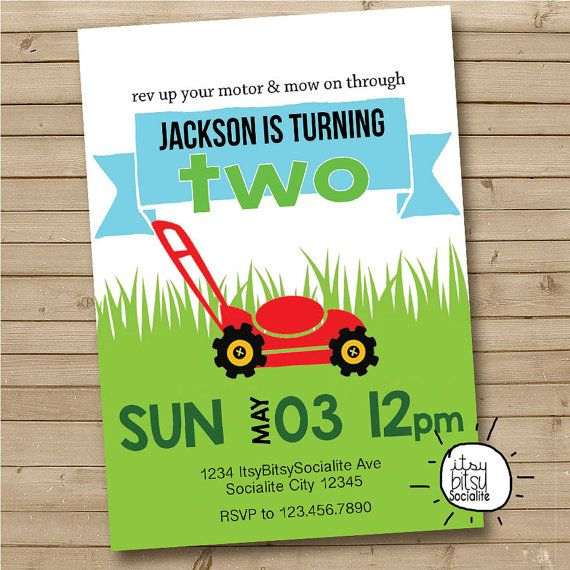 Lawn Mower Party Invitation - The new tractor party invite - Baby Boys Birthday