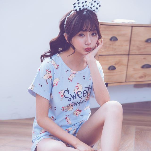 QWEEK Pajamas for Women Kigurumi Sleepwear Female Casual 100% Cotton ...