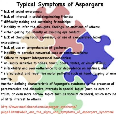 Typical Symptoms of Asperger's Syndrome
