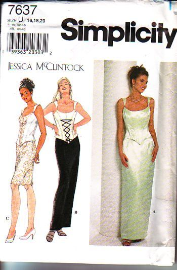 Simplicity 7637, not cut, factory folds, sizes 16 to 20, jessica mccintock