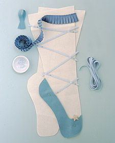 Nutcracker Stockings How-To - Martha Stewart Holidays--- ummmm, LOVE! The girls have stockings, but maybe another for their doors wouldn't hurt? ;)
