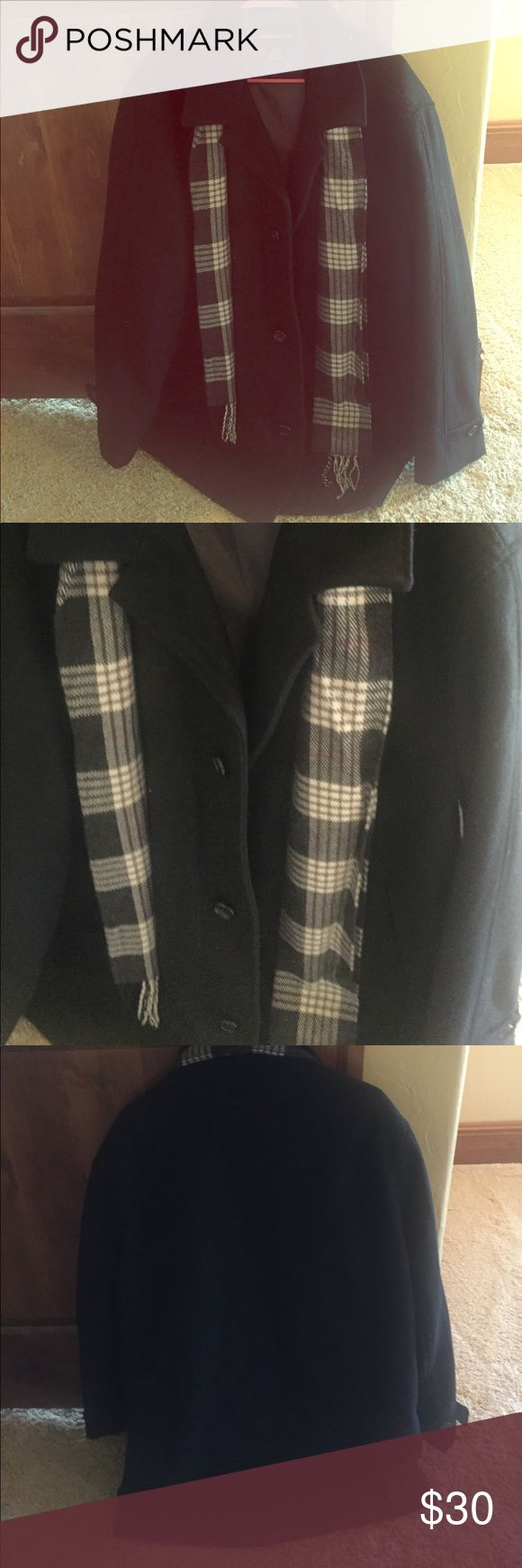 Men's Peacoat Black pea coat with collar and removable attached gray plaid scarf London Fog Jackets & Coats Pea Coats