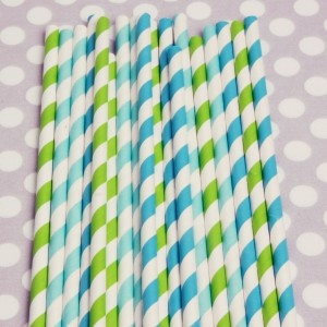 Stripped straws box of 20 for $4. Lime green, aqua, and peacock.