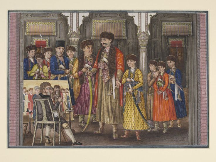 Lucknow, India (made) Date: ca. 1815. Watercolour on paper depicting Tilly Kettle painting a portrait of Shuja ud-Daula and his ten sons.