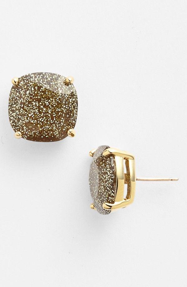 Kate Spade glitter stud earring: Gold Glitter, Spade Glitter, Spade Studs, Stud Earrings, Studs Earrings, Glitter Studs, New York, Kate Spade, Gold Earrings
