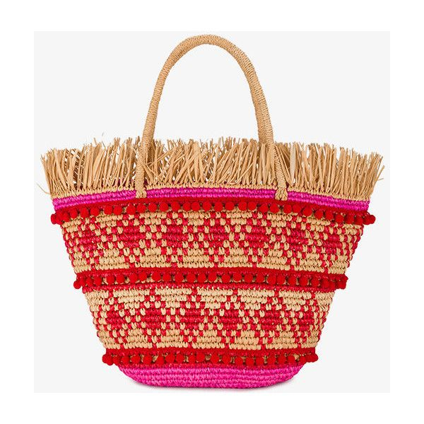 Sensi Studio Veva Pom Pom Basket Bag ($300) ❤ liked on Polyvore featuring bags, handbags, multicolour, sensi studio, pom pom bag, colorful handbags, multi colored handbags and multi coloured bags