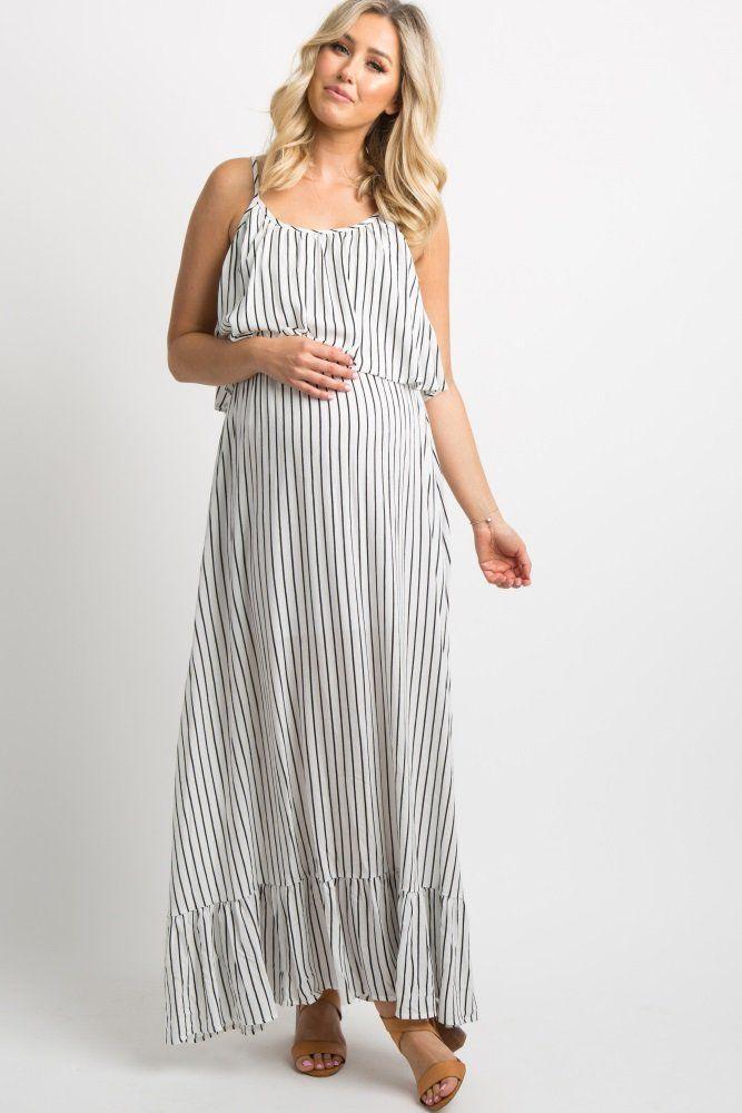 2901dbe4411202 White Striped Ruffle Trim Maxi Dress A striped sleeveless maternity maxi  dress with a ruffle trim