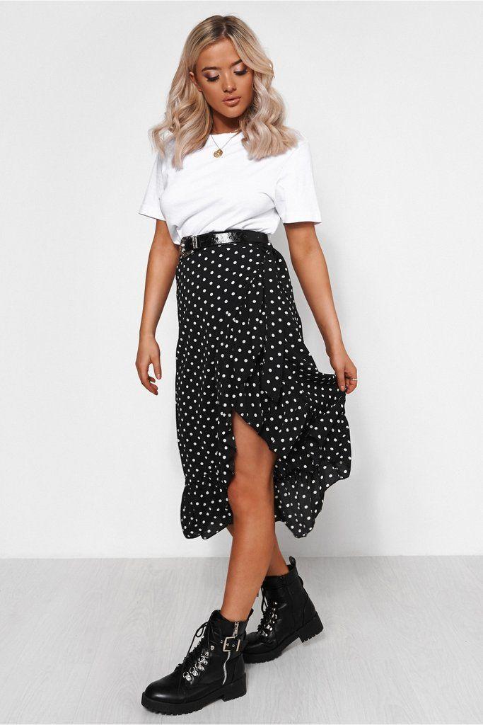 d72f9dac4efc Black Polka Dot Frill Wrap Midi Skirt in 2019 | ✨ skirts, skorts ...