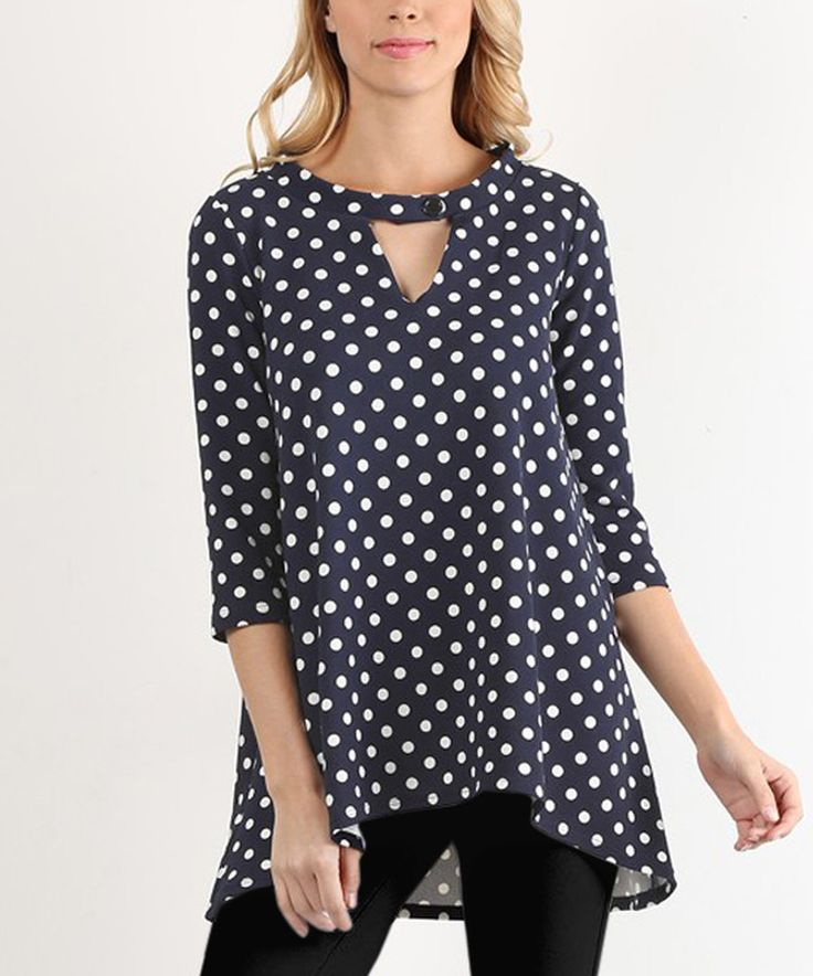 Look at this Navy Polka-Dot Hi-Low Tunic - Plus Too on #zulily today!