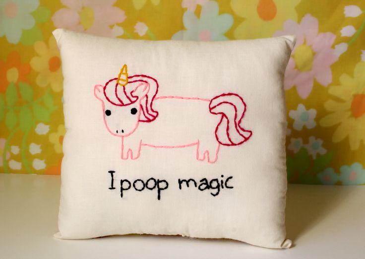 Unicorn Pillow - Magical Pooping Unicorn. $22.00, via Etsy.